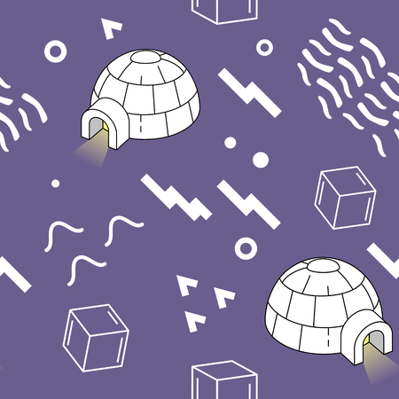 Vintage Memphis Style Geometric Pattern with igloo