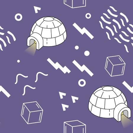 Vintage Memphis Style geometrische patroon met iglo Stock Illustratie