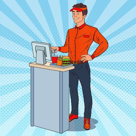 Fast food crew man illustratie.