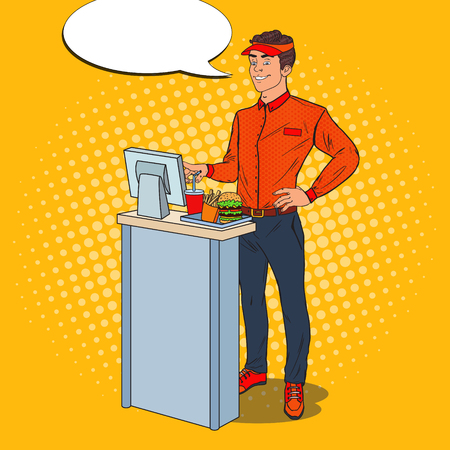 Pop Art Happy Cashier Takes the Order. Fast Food Restaurant Worker. Vector illustration Illustration