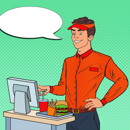Pop Art Happy Man Cashier Takes the Order. Fast Food Restaurant Worker. Vector illustration