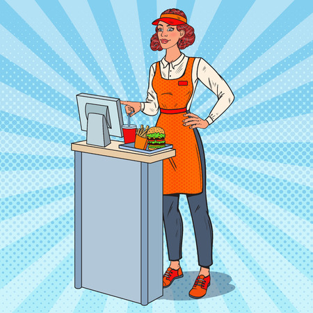 Pop Art female cashier illustration.