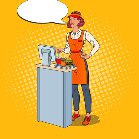 Pop Art Cashier Takes the Order