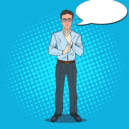 Pop Art serious man with speech bubble.