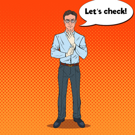 Pop Art Serious Male Inspector Wearing White Gloves. Professional Detective. Vector illustration