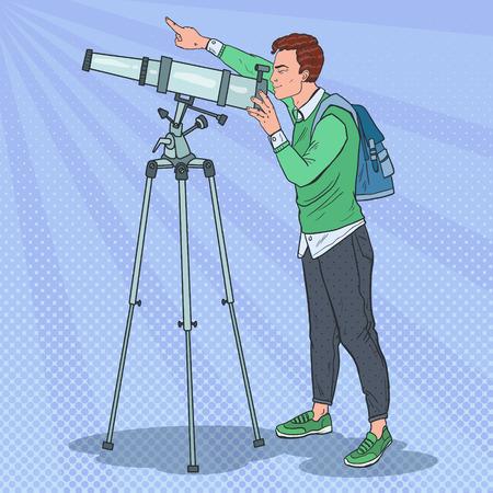 望遠鏡を見ている男性。