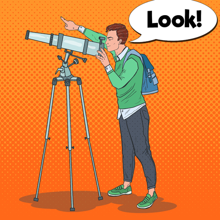 Pop Art Young Man Looking Through a Telescope on the Sky. Astronomical Equipment.
