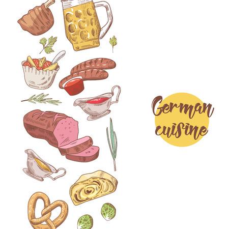 Deutsche traditionelle gezeichneter Hintergrund des Lebensmittels Hand. Deutschland Küche Menüvorlage. Essen und Trinken. Vektor-illustration Standard-Bild - 90274468