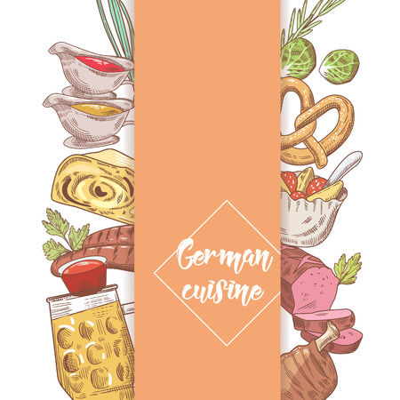 German Traditional Food Hand Drawn Doodle. Germany Cuisine Menu Template. Food and Drink. Vector illustration