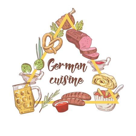 Deutsche traditionelle Lebensmittel Hand gezeichnet Gekritzel . Deutschland Küche Menü Vorlage . Essen und Trinken . Vektor-Illustration Standard-Bild - 90274470
