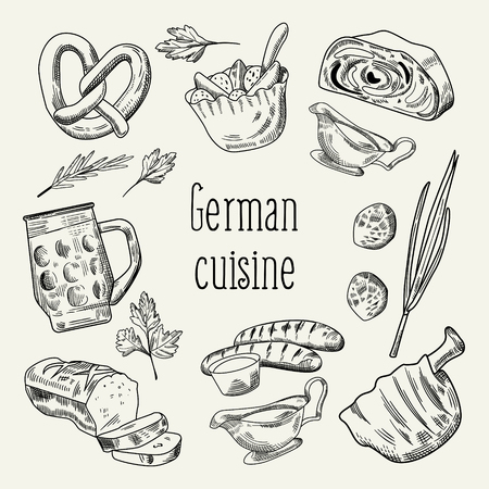 German Traditional Food Hand Drawn Outline Doodle. Germany Cuisine Menu Template. Food and Drink. Vector illustration