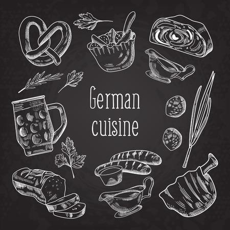 Deutsches traditionelles Lebensmittel-Hand gezeichnetes Tafel-Gekritzel. Deutschland Küche Menüvorlage. Essen und Trinken. Vektor-illustration Standard-Bild - 90064035