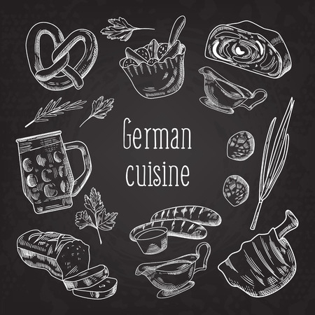 German Traditional Food Hand Drawn Chalkboard Doodle. Germany Cuisine Menu Template. Food and Drink. Vector illustration Illustration