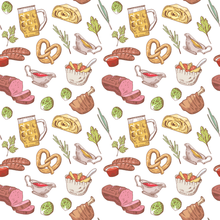 German Traditional Food Hand Drawn Seamless Pattern. Germany Cuisine Background. Food and Drink. Vector illustration Illustration