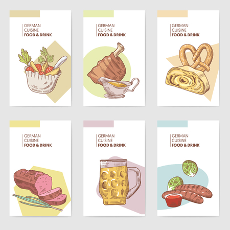 German Traditional Food Hand Drawn Brochure Templates. Germany Cuisine Menu Cards. Food and Drink. Vector illustration