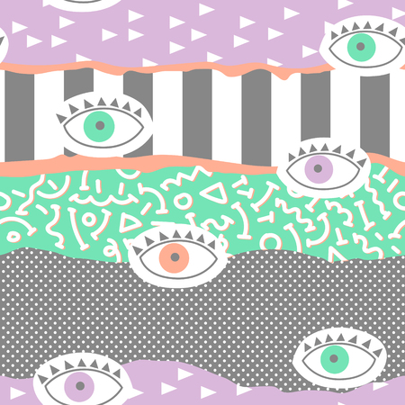 Trendy Abstract Memphis Seamless Pattern with Eyes. Hand Drawn Geometric Fashion Background for Textile, Print, Cover, Poster. Vector illustration Vectores