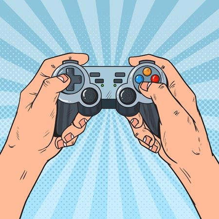 Gamepad della holding di Pop Art Man. Mani maschili con console joystick. Video gioco. Illustrazione vettoriale