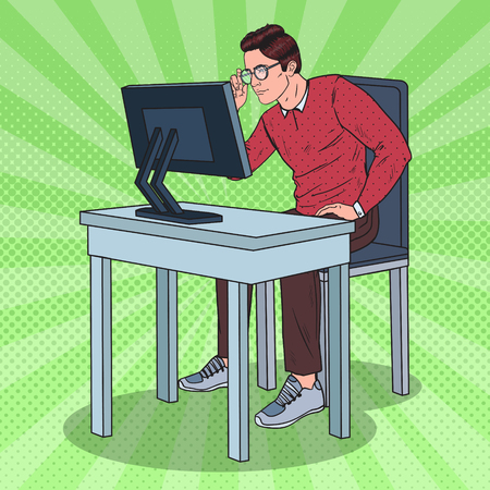 Pop Art Weak-Eyed Man Working at the Computer. Vector illustration Ilustrace