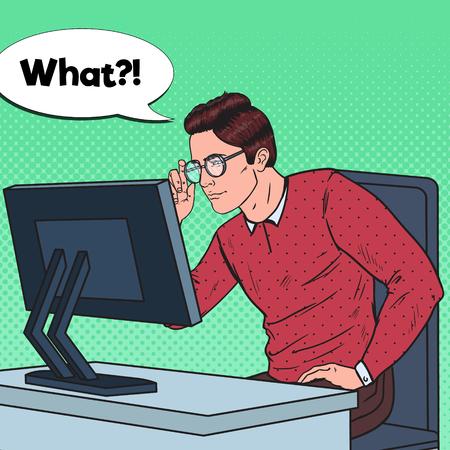 팝 아트 컴퓨터에서 일하는 안경에 약한 젊은 남자. 벡터 일러스트 레이 션