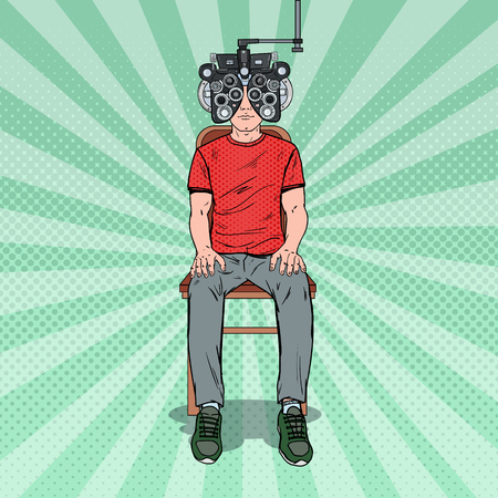 Pop Art Man Patient at Optometric Clinic with Optical Phoropter. Eye Diagnostics. Vector illustration