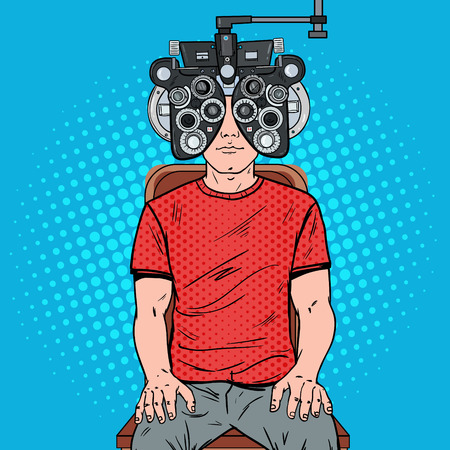 Pop Art Man Patient at Optometric Clinic with Optical Phoropter. Eye Examination. Vector illustration