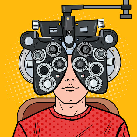 Pop Art Man Patient at Optometric Clinic with Optical Phoropter. Eye Exam. Vector illustration Vettoriali