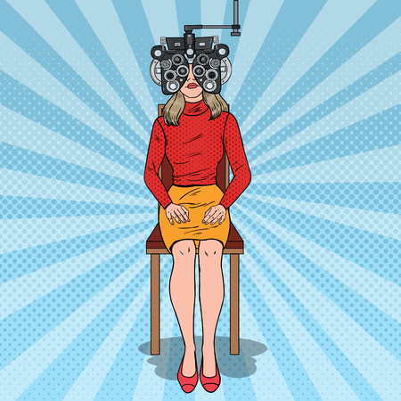 Pop Art Woman Patient at Optometric Clinic with Optical Phoropter. Eye Diagnostics. Vector illustration