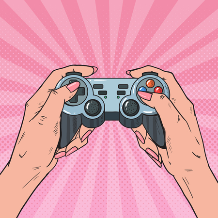 Pop Art Woman Holding Gamepad. Female Hands with Joystick Console. Video Game. Vector illustration Illustration