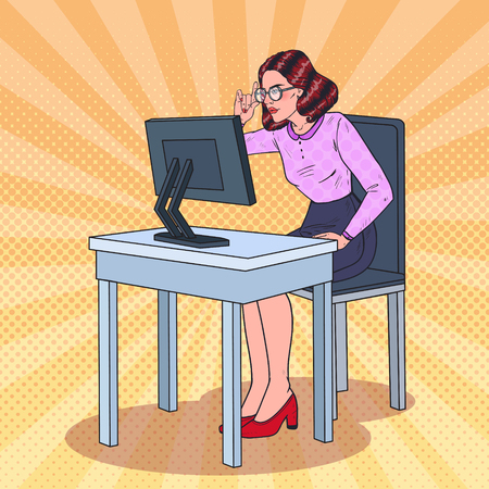 Pop Art Weak-Eyed Business Woman Working at the Computer. Vector illustration