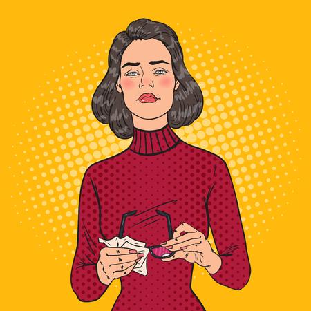 Pop Art Beautiful Woman Wiping his Eyeglasses with Rag. Vector illustration
