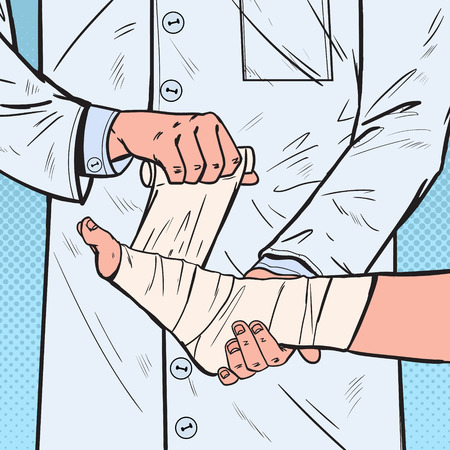 Pop Art Doctor Bandaging Patient Leg in Hospital. Medical Care. Ankle Injury. Vector illustration Vectores