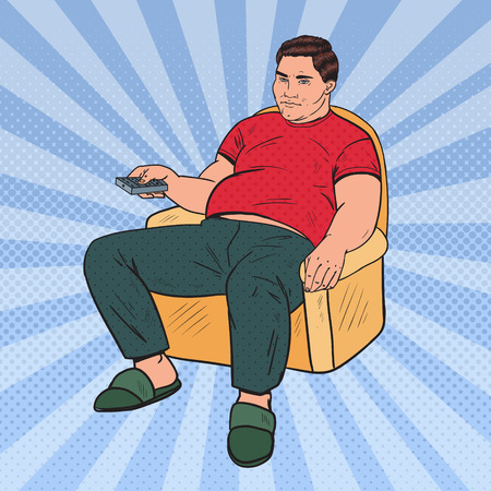Pop Art Fat Man Watching TV with Remote Controller. Unhealthy Food. Vector illustration