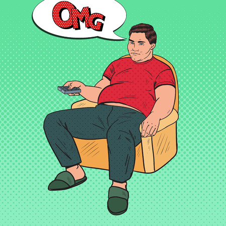 Pop Art Bored Fat Man Watching TV with Remote Controller. Unhealthy Food. Vector illustration Stock Illustratie