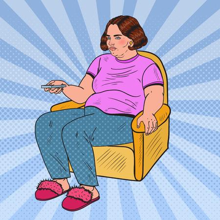 Pop Art Fat Woman TV kijken met afstandsbediening. Ongezond eten. Vector illustratie