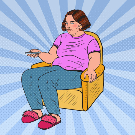 Pop Art Fat Woman Watching TV with Remote Controller. Unhealthy Eating. Vector illustration