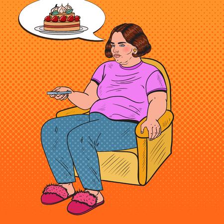 Popart dikke vrouw tv kijken met afstandsbediening en dromen over zoet eten. Ongezond eten. Vector illustratie