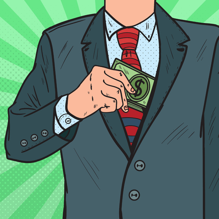 Pop Art Businessman Putting Money in Suit Jacket Pocket. Corruption and Bribery Concept. Vector illustration Vettoriali