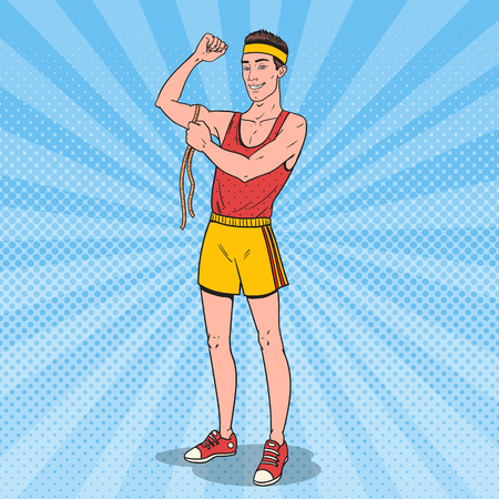 Pop Art Funny Lean Athlete Measures his Muscles. Vector illustration Ilustrace