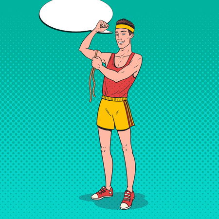 ポップアート面白いスポーツマンは、彼の筋肉を測定します。ベクトルイラスト  イラスト・ベクター素材
