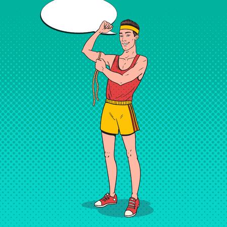 Pop Art Funny Sportsman Measures his Muscles. Vector illustration