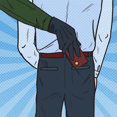 팝 아트 도둑 남자 지갑에서 지갑을 훔치는. 소매치기 도둑질. 벡터 일러스트 레이 션 일러스트