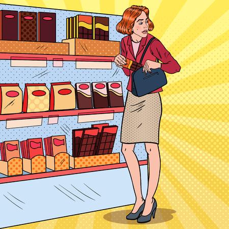 スーパーマーケットで食べ物を盗むポップアート美しい女性。万引きクレプトマニアコンセプト。ベクトルイラスト