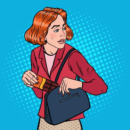Pop Art Young Woman Stealing Food en el supermercado. Shoplifting Kleptomania Concept. Ilustración vectorial Ilustración de vector