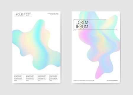抽象的なポスターホログラフィックフォームの背景。流体図形パンフレット テンプレート。未来的なバナーIDカードのデザイン。ベクトルイラスト