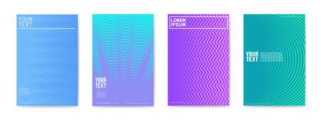 抽象クリエイティブカードプラカードポスターセット。バナー、カバー、招待状のためのトレンディなハーフトーングラデーションデザイン。ヒッ