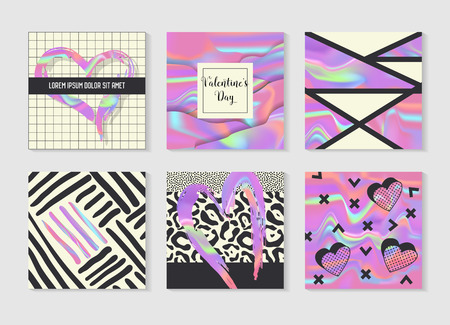 Creative holographic posters set geometric shapes and romantic elements. Trendy hipster design for banners, cards, invitations, brochure. Love messages, vector illustration.