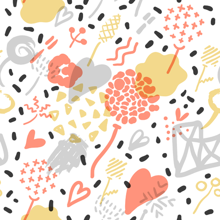 Abstract Memphis seamless pattern with romantic elements. Hipster background with triangles. Vintage design for Fabric, poster, cover. Illustration