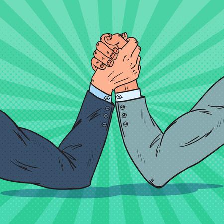 Popart zakenman handen arm worstelen. Zakelijke rivaliteit. Confrontatie op het werk, vectorillustratie.