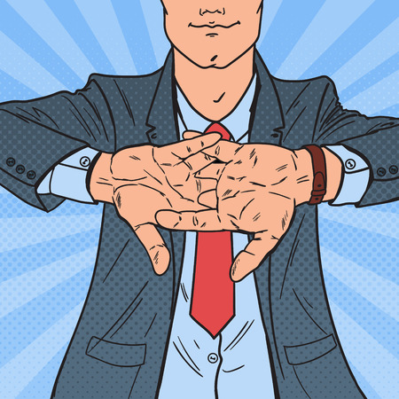 Pop art successful businessman rubbing his hands. Business motivation, vector illustration.  イラスト・ベクター素材