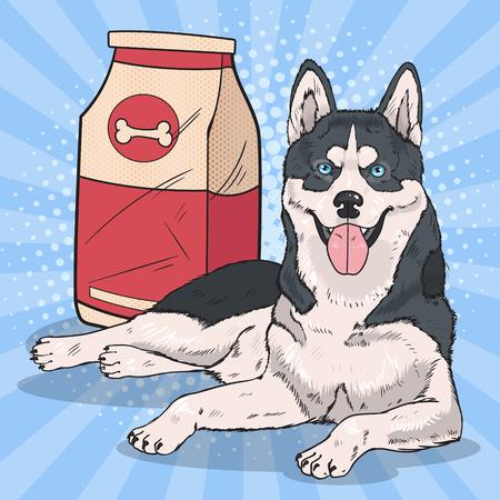 大きな食品パックとポップアートのハスキー犬。